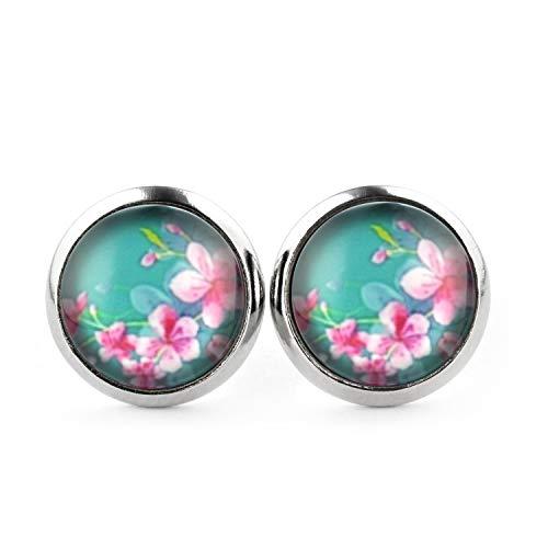 SCHMUCKZUCKER Blumen Ohrringe silber-farben Damen - Sommer Blüten - Modeschmuck Stecker rosa pink - 3 Farben - kreiert in Deutschland Türkis (12mm)