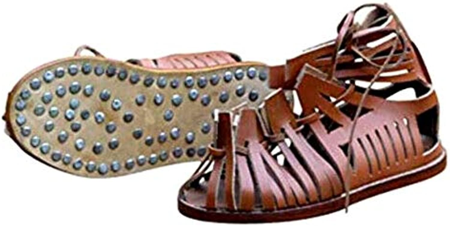 THORINSTRUMENTS (with device) Roman Soldier Legionaire Brown Leather Men Roman Sandals New
