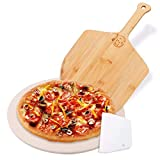 AILUROPODA 13' Round Pizza Stone, Pizza Grilling Stone for Oven, Grill and BBQ, Thermal Shock Resistant Baking Stone with Bamboo Pizza Peel and Scraper(High Temperature Version)