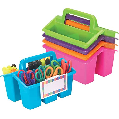 Really Good Stuff Four-Compartment Caddies (Set of 5) – Neon – Perfect to Color-Code Tables, Group Work – Built-in Handles, Clip-On Label Holders – Stackable for Easy Storage