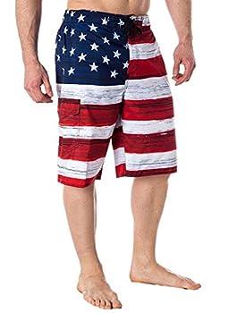 US Apparel Men s American Flag Inspired Board Shorts Red Medium  32 -34