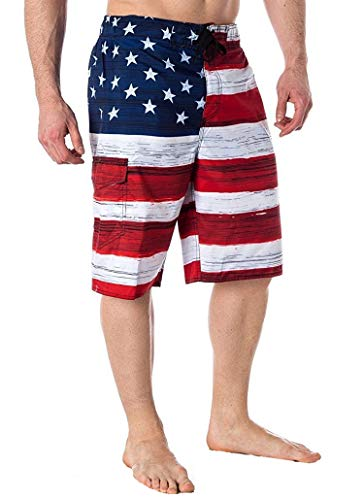 Licensed-Mart Men's American Flag Inspired Board Shorts, Red, Small (30'-32')