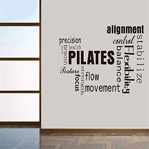 pegatinas de pared frases Wall Decal Quote Pilates Words Exercise Fitness Alignment For Gym