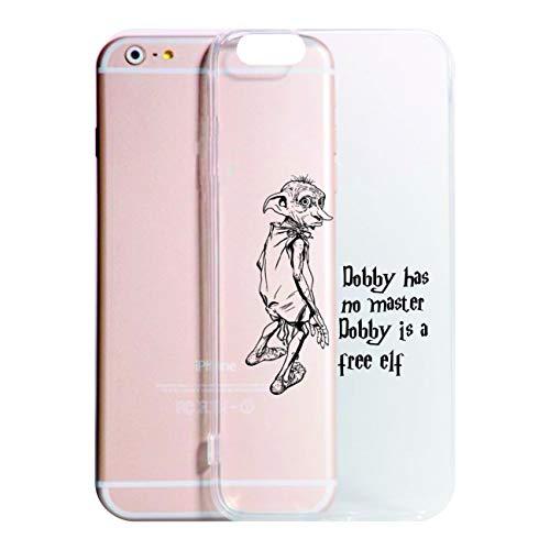 Cover iPhone XS - XR - XS Max - 8-8 Plus - X - 6-6 Plus - 6S - 6S Plus - 7-7 Plus - Dobby IS A Free Elf Trasparente Vari Colori AntiGraffio Case Custodia (iPhone XR, Trasparente)