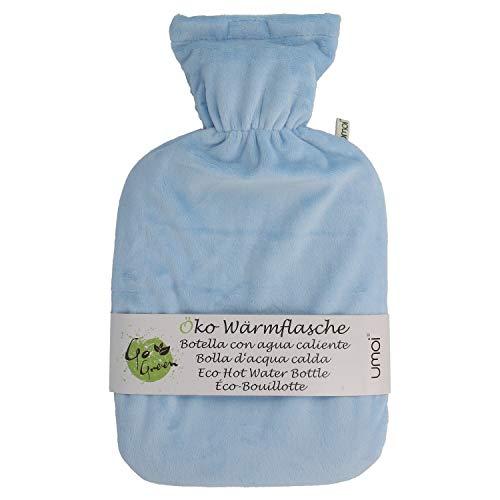 Premium Wärmflasche 1.8 Liter mit hochwertigem Supersoft Korean Fleece Bezug mit Reißverschluss und extra Fütterung - BS1970:2012 zertifiziert - neues Modell - TÜV geprüft (blau)