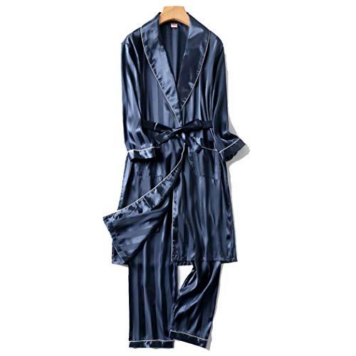 GJF Heren Nachtjapon Zijde Satijn Badjas met lange mouwen Badjas Broek Tweedelige Suit Zomer Dunne Mid-lengte Pyjama Sets Loungewear