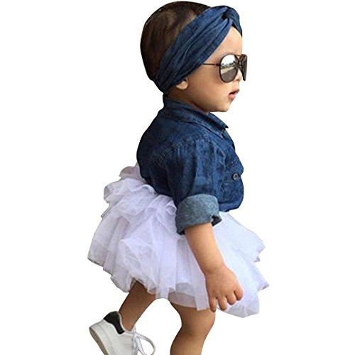 Amlaiworld Mädchen Langarm Denim Bluse + Tutu + Haarband Mode Kleinkind Niedlich Kleider Set Kleidung,1-5 Jahren (1 Jahren, Blau)