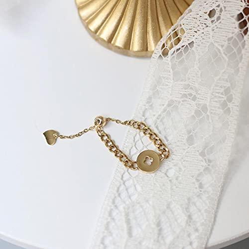TIANGUO Anillos de Monedas de Acero Inoxidable para Mujer, Anillo de Cadena geométrica, Regalo de Estilo Coreano Vintage para Mujer, Accesorios para Novia, joyería