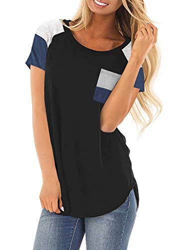 DanceWhale Damen T Shirt Rundhals Farbblock Kurzarm Oberteile Bluse Hemd Lose Sommer Tunika Top Schwarz S