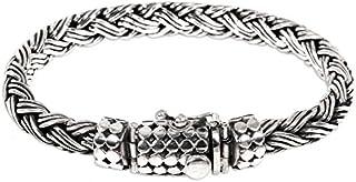 NOVICA .925 Sterling Silver Men's Braided Chain Bracelet...