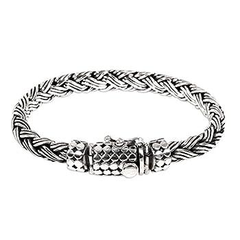 NOVICA .925 Sterling Silver Men s Braided Chain Bracelet  Friendship