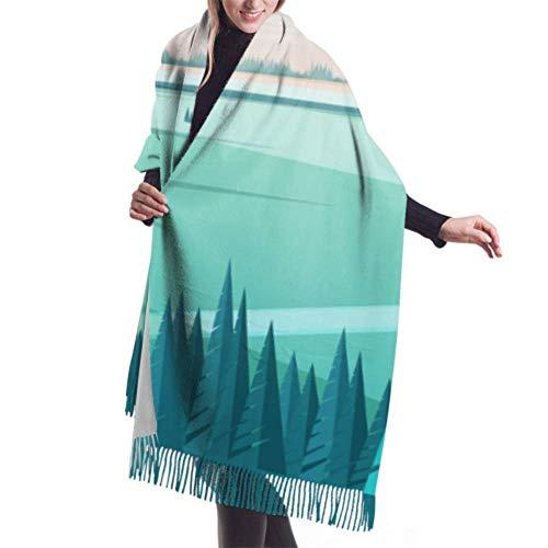 Bufanda con Flecos, Tapiz, Manta, Accesorios de Vestidos, Plantilla de Banner con Paisaje Natural o Vector de Paisaje Bufanda Grande Bufandas de Mujer