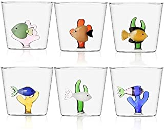 Ichendorf Marine Garden Lot de 6 verres à eau décorés, poisson avec algue