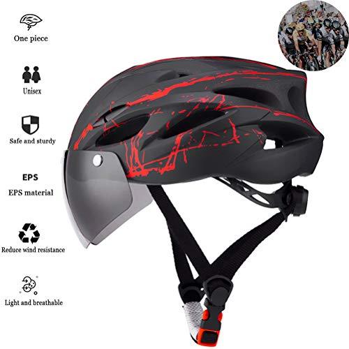 WWJJLL Männliche und weibliche Fahrradhelme, Fahrradhelme mit Abnehmbarer Magnetbrille, Außenbreathfahrradhelme für Berg- und Rennräder, Einstellbarer Erwachsener Sicherheitsschutz,Black and red
