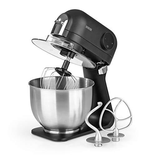 N8WERK Küchenmaschine in der Midnight Edition | Schneebesen, Knethaken und Rührhaken | Spritzschutz mit Einfüllöffnung | 5 L Edelstahlschüssel | 6 Geschwindigkeitsstufen| 1200 Watt | digitales Display