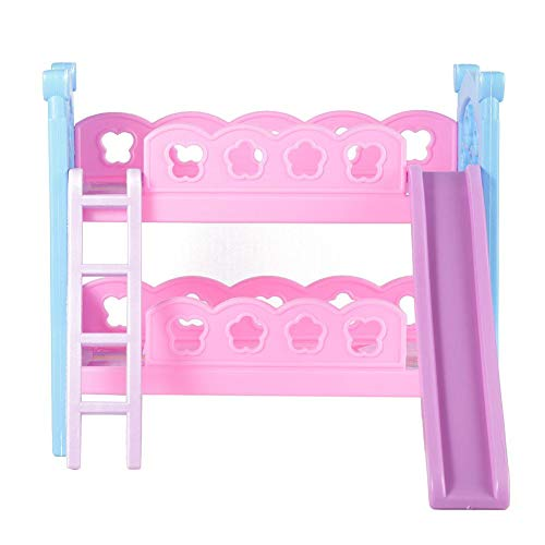 V GEBY Mini Dollhouse Bed Miniatura Simulada Plástico Litera Cama Dollhouse Muebles