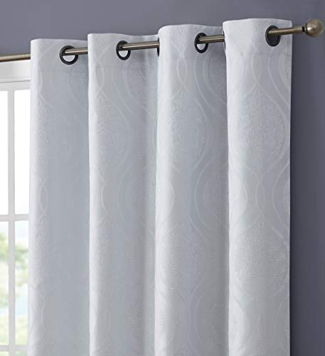 HLC.ME Montero Damask 100% Complete Blackout Thermal Insulated Energy Savings Heat/Cold Blocking Floor Length Grommet Curtain Drapery Panels for Bedroom & Living Room, 2 Panels (52 W x 84 L, White)