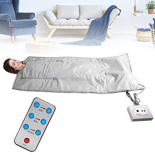 Manta de sauna de calor de infrarrojo lejano digital (abeto) para reducir el peso Cuerpo delgado Belleza en el hogar Desintoxicación corporal Manta adelgazante Plata(EU)