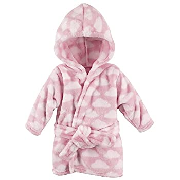 Hudson Baby Unisex Baby Plush Animal Face Robe Pink Clouds One Size 0-9 Months