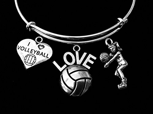 I Love Volleyball Jewelry Adjustable Bracelet Expandable Silver Charm Bangle One Size Fits All Gift Coach Personalization Options