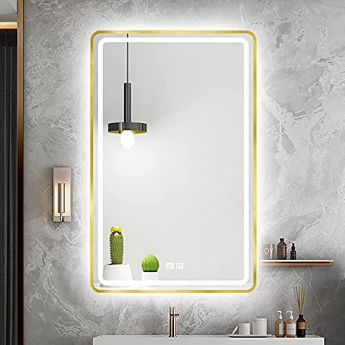 ZCZZ Espejo de baño con iluminación LED, Espejo Rectangular de Pared con Marco de Metal, Sensor táctil y 3 Colores de luz, Brillo de luz Ajustable, Horizontal/Vertical, Dorado
