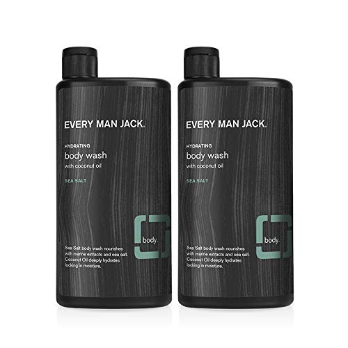 Every Man Jack Men's Body Wash - Sea Salt | 16-ounce Twin Pack - 2 Bottles Included | Naturally Derived, Parabens-free, Pthalate-free, Dye-free, and Certified Cruelty Free