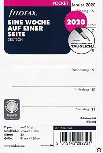 Filofax Kalendereinlage Pocket 1 Woche auf 1 Seite (deutsch)2020