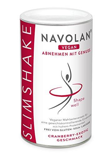 NAVOLAN vegan Cranberry Exotic SLIM SHAKE: veganer Proteinshake zum Abnehmen, pflanzliche Proteine, Sojafrei, Laktosefrei, Glutenfrei, einfache Zubereitung und schmeckt lecker