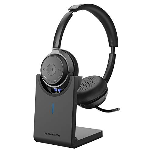Avantree Bluetooth 5.0 Headset with Microphone for Computer PC Laptop, aptX HD Music Sound, Low Latency Wireless Headphones with Boom Mic for Remote Work Home Office, Skype, Calls, TV - Alto Clair