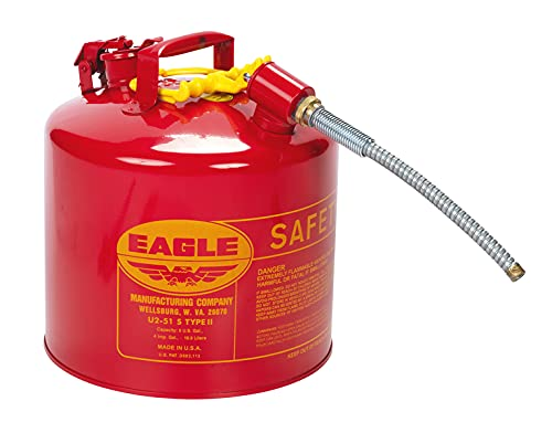 Eagle U2-51-S Red Galvanized Steel Type II Gas Safety Can with 7/8″ Flex Spout, 5 gallon Capacity, 13.5″ Height, 12.5″ Diameter,Red/Yellow