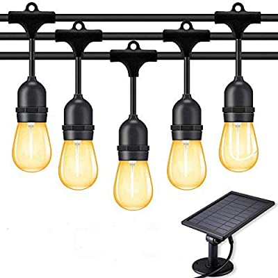 Fule Solar Outdoor String Lights,Heavy Duty S14 LED String Light 48FT,15 Hanging Sockets,1W Plastic Vantage Bulbs,Create Ambiance for Backyard Party Decoration/Cafe/Garden/Patio