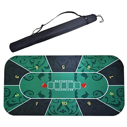 LIXILI Tragbare Texas Hold'em Tischdecke Poker-Board-Matte, 8-Player-Gummi-Pokertisch-Top-Layout Mit Tragetasche Zum Abspielen Von Karten 180X90cm / 70