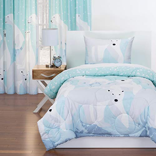 Crayola White Bear Reversible Comforter Set in Blue Twin 2 Piece