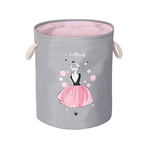 Wäschekorb Wäschesammler Spielzeugkorb Aufbewahrungskorb Kinder Groß Faltbar 35X40CM für Kinderzimmer Mädchen Junge (Ballett Mädchen)