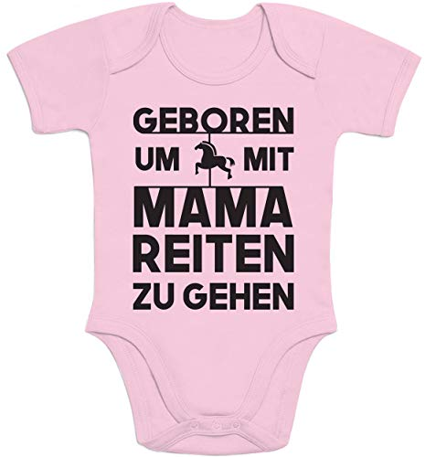 Shirtgeil Baby Kleidung Geboren Um Mit Mama Reiten Zu Gehen Baby Body Kurzarm-Body 3-6 Monate Rosa