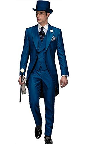 Frank Hommes Beau 3 Pièces Tailcoat Suit Set Costume Business pour Les Hommes Tenue de Mariage Formel 2019