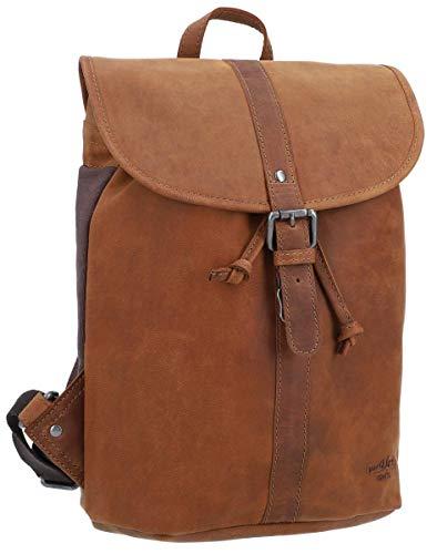 Gusti Rucksack Leder Damen Herren klein - Bennett Lederrucksack Backpack 12L Vintage Braun Matt Schnappverschluss Wasserfest