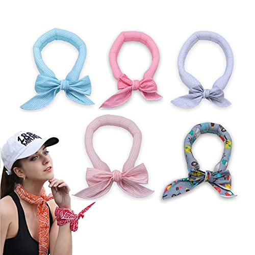 -10°c Cooling Bandana, Pack of 5 Ice Cool Scarf, Neck Wrap Headband Bandana Cooling Scarf for Men Women Outdoor Activities (Hybrid)