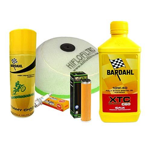 Kit de revisión Bardahl XTC 10W40 filtro aceite aire bujía spray Enduro RR 350 520