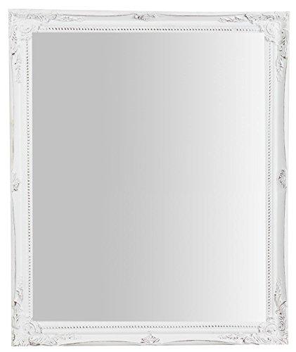 Biscottini Specchio, Specchiera rettangolare da parete, da appendere al muro orizzontale verticale, Shabby chic, trucco, bagno, cornice finitura colore bianco anticato, L47xPR3xH57 cm. Stile shabby chic.