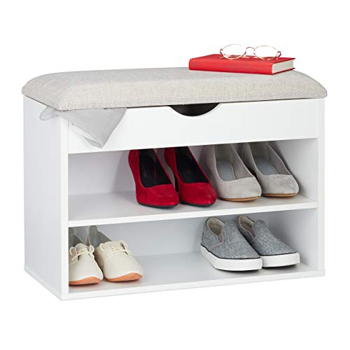Relaxdays Schuhbank, gepolsterte Garderobenbank, 3 Fächer, aufklappbar, Schuhregal mit Sitzfläche, 45 x 62 x 30 cm, weiß, 1 Stück