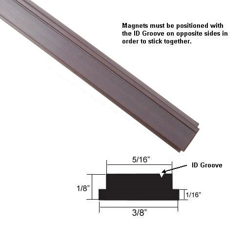 "Flexible Magnetic Strip Insert for Framed Swing Shower Doors with 3/8"" Width - 84"" long"