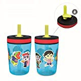 Zak Designs Ryan's World Kelso Tumbler 2pc Set, Leak-Proof Screw-On Lid with Straw Made of Durable Plastic and Silicone, Perfect Bundle for Kids, 15 oz