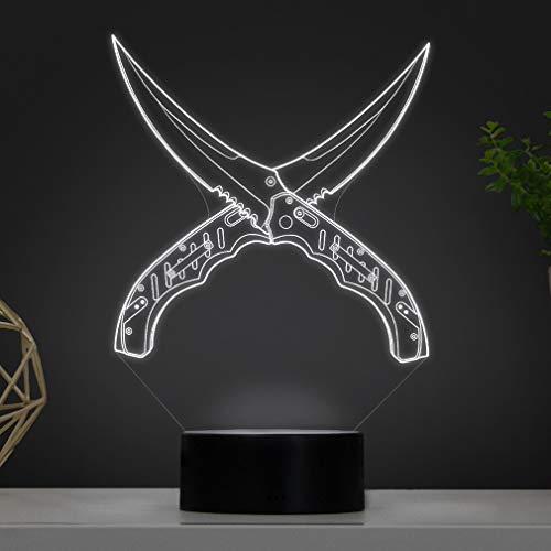 3D LED Deko Lampe CSGO Flip Knife Klappmesser - Elbeffekt - Gaming Dekoration Flip Messer - CSGO Knife Nerd Gamer Zocker Geschenk Waffen Lampe