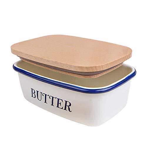 webake Butterdose Emaille mit Holzdeckel, Butterschale für 1 Stück Butter