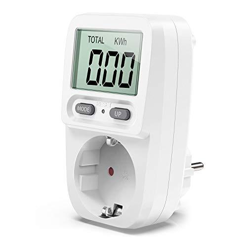 Zaeel Energiekostenmessgerät Stromkostenmessgerät Leistungsmessgerät, Energiekosten-Messgerät mit LCD Bildschirm, Überlastsicherung, Maximale Leistung 3680W