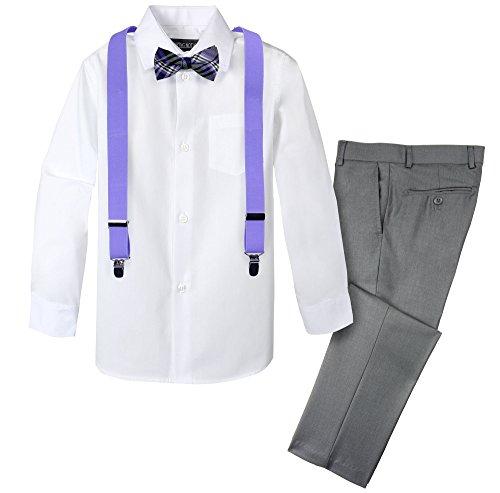 Spring Notion Boys' 4-Piece Patterned Dress up Pants Set 6 Grey/Lavender