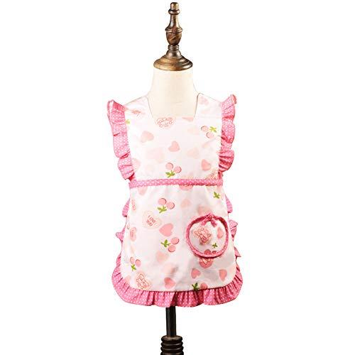 Love Potato Joli tablier en coton à volants avec motif cœur - Cadeau idéal pour les petites filles (1 à 2 ans, rouge)