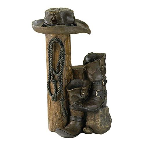 Baoblaze La decoración del hotel de la estatua de la fuente occidental salvaje hace el ornamento del paisaje de la resina de la fuente de los artes - Botas de bronce, 7,9 × 3,9 × 3,9 pulgadas