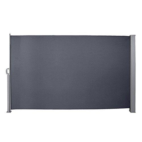 BMOT 160x300 cm Seitenmarkise Anthrazit Markise mit TÜV Geprüft Seitenmarkise Ausziehbar UV-beständig für Terrasse,Balkon,Garten Spielplätzen Sichtschutz